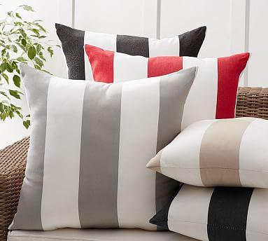 Sunbrella 174 Awning Stripe Indoor Outdoor Pillow Pottery Barn