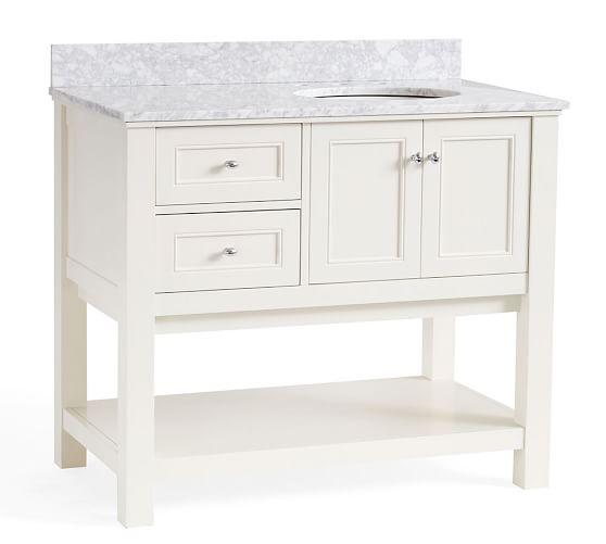 White Barn Sink : Classic Asymmetric Single Sink Console - White Pottery Barn