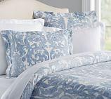 Suri Print Sateen Duvet Cover, Full/Queen, Blue