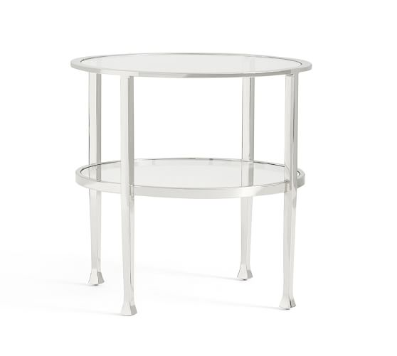 Tanner Round Side Table Polished Nickel Finish Pottery Barn