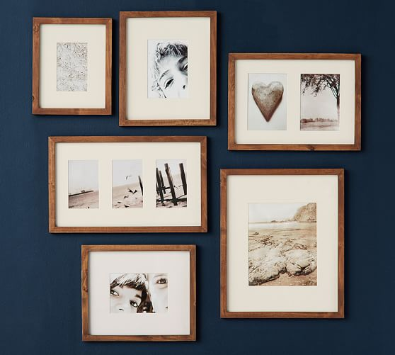 wood gallery frames in a box rustic wood pottery barn