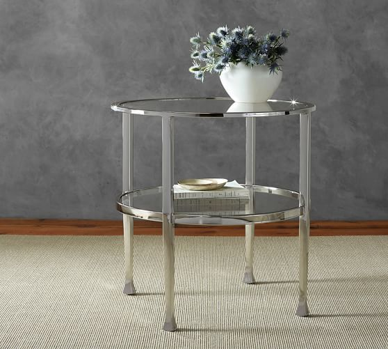 Antique Nickel Coffee Table: Tanner Round Side Table - Polished Nickel Finish