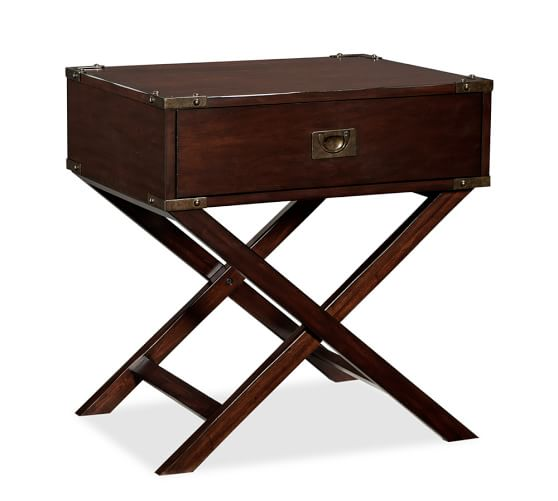Devon Campaign Bedside Table, Mahogany stain