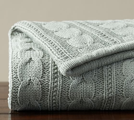 Knitting Pattern For Pottery Barn Throw : Cozy Cable Knit Throw Pottery Barn