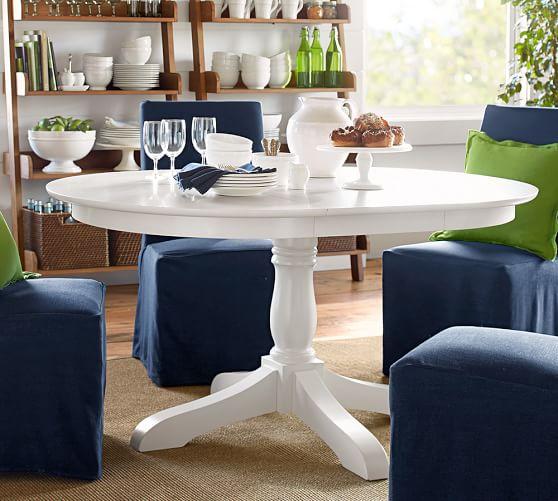 owen extending pedestal dining table pottery barn. Black Bedroom Furniture Sets. Home Design Ideas