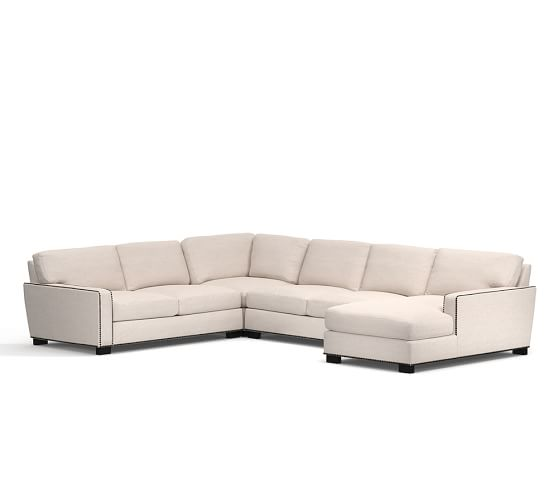 Turner square arm upholstered 4 piece chaise sectional for 4 piece sectional sofa with chaise