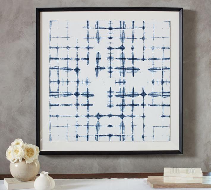 shibori cross hatch framed print