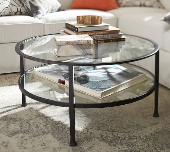 Round Wood And Embossed Metal Kiran Coffee Table: Tanner Round Coffee Table - Bronze Finish