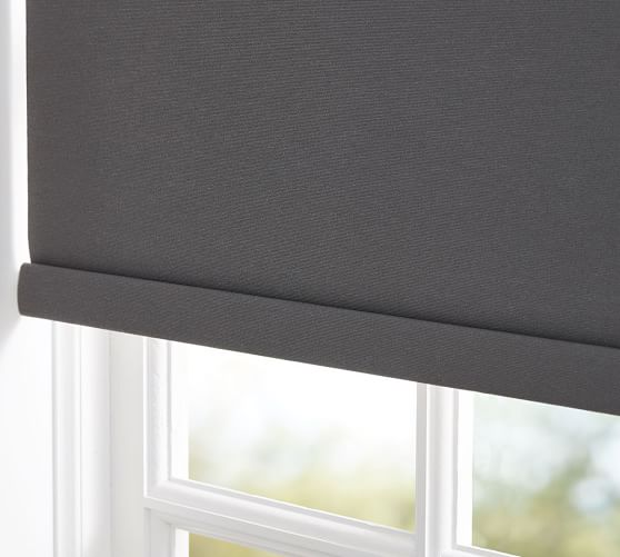 Bali custom blackout roller shade slate pottery barn for Roman shades for wide windows