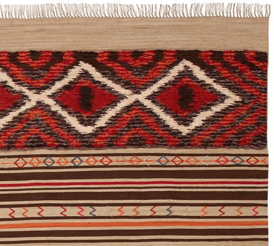 Scout synthetic kilim rug warm multi pottery barn for Warm rugs