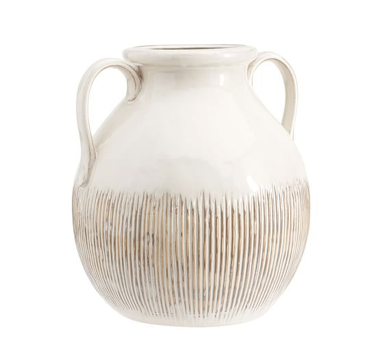 Eclectic Ivory Ceramic Vase with Handles, Large