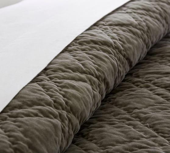 Washed Velvet Silk Quilt u0026 Sham : Pottery Barn