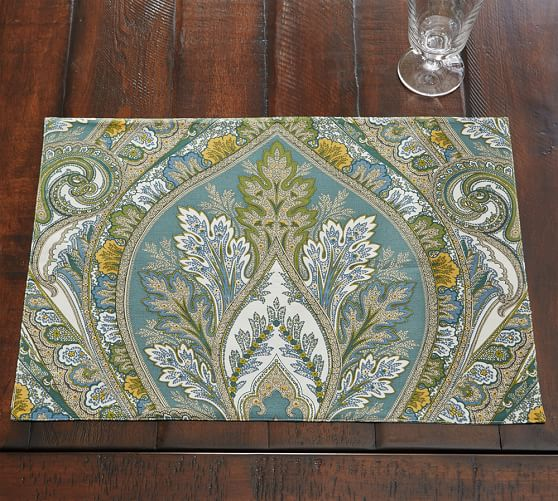 Anton Paisley Placemat Set Of 4 Blue Pottery Barn