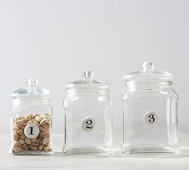 numbered glass canisters set of 3 pottery barn