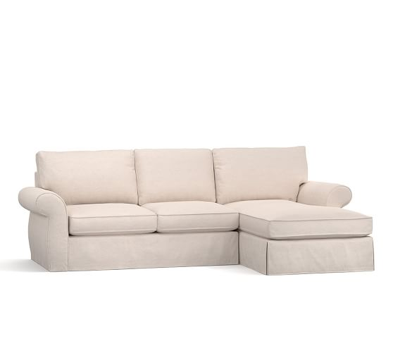 Pearce slipcovered sofa with chaise sectional pottery barn for Pearce sectional sofa pottery barn