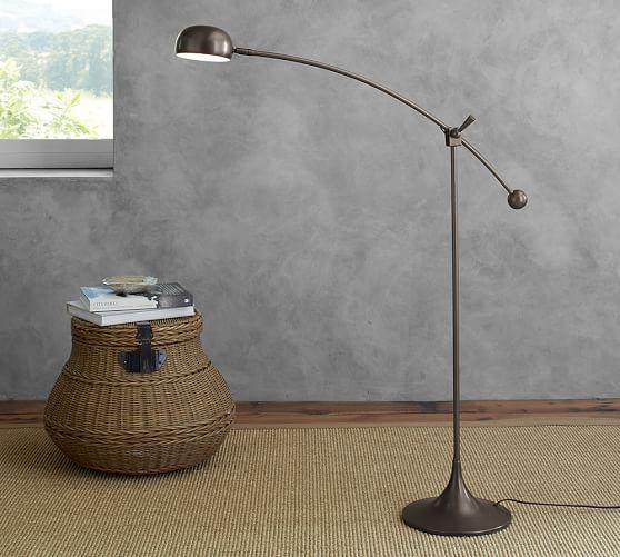 Larkin led task floor lamp pottery barn for Task lighting floor lamp