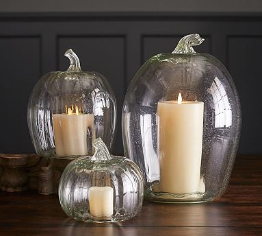Recycled Glass Pumpkin Candle Cloches Pottery Barn