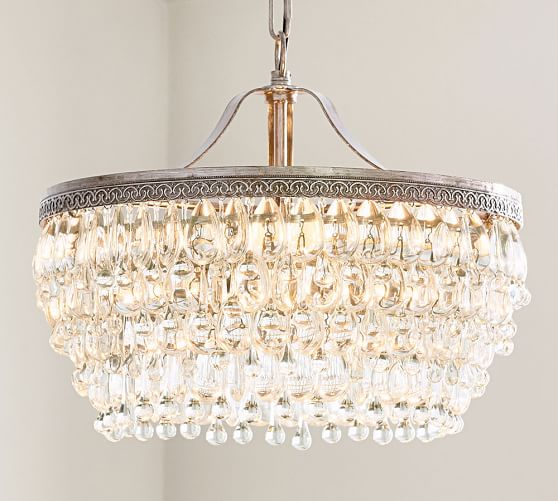 Clarissa Crystal Drop Round Chandelier – Close to Ceiling Crystal Chandelier