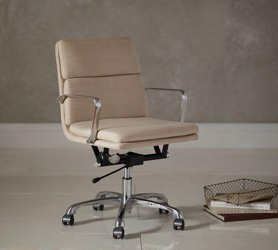 Nash Upholstered Swivel Desk Chair Pottery Barn