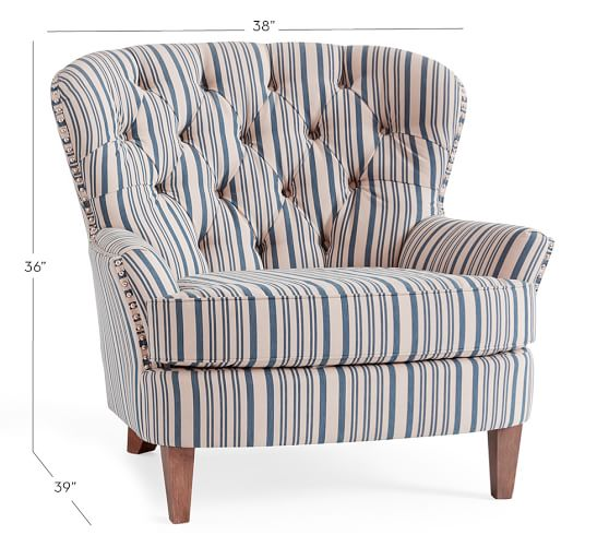 Cardiff Upholstered Tufted Armchair With Nailhead Antique Stripe Pottery Barn