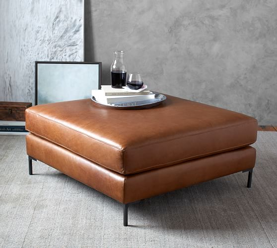 Jake Leather Sectional Ottoman Pottery Barn