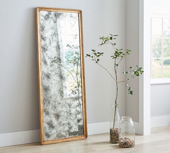 Avery antiqued floor mirror pottery barn for Mirror framed floor mirror