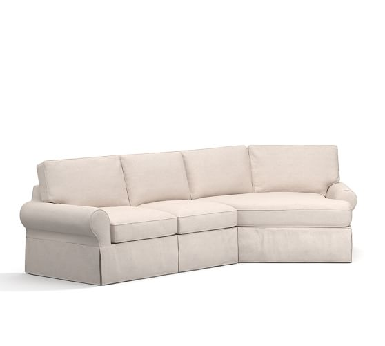 Pb basic slipcovered 2 piece angled chaise sectional for Sectional sofa with angled chaise
