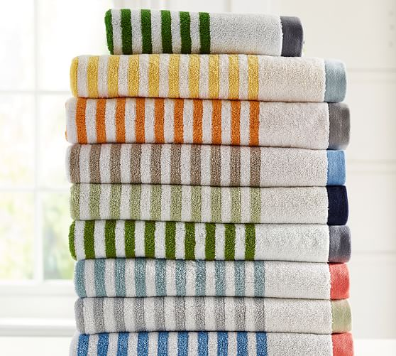 Roll Over Image to Zoom. Marlo Stripe Organic 600 gram Weight Bath Towels   Pottery Barn