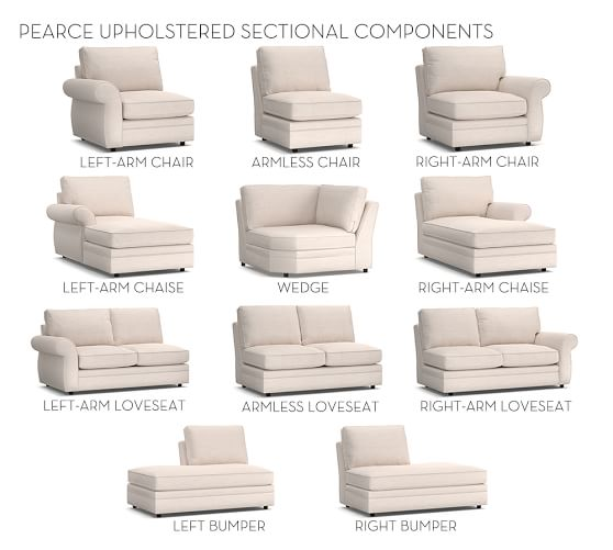 build your own pearce sectional components pottery barn. Black Bedroom Furniture Sets. Home Design Ideas