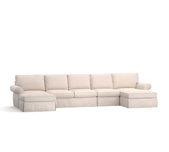 Pearce slipcovered 4 piece double chaise sectional for 4 piece sectional with chaise
