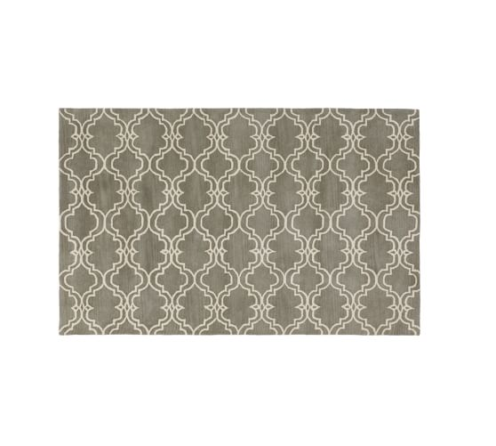 Scroll Tile Rug, 5x8', Gray/Ivory