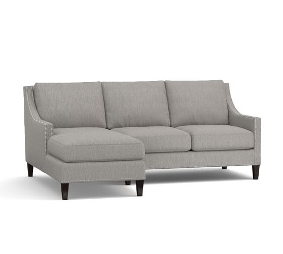Pasadena upholstered sofa with chaise sectional pottery barn for Albany sahara sectional sofa chaise