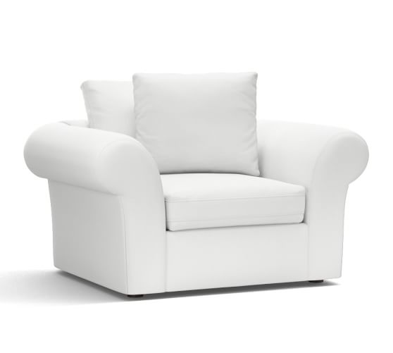 PB Air Upholstered Armchair, Deluxe Down Blend Wrapped Cushions, Washed Linen/Cotton White