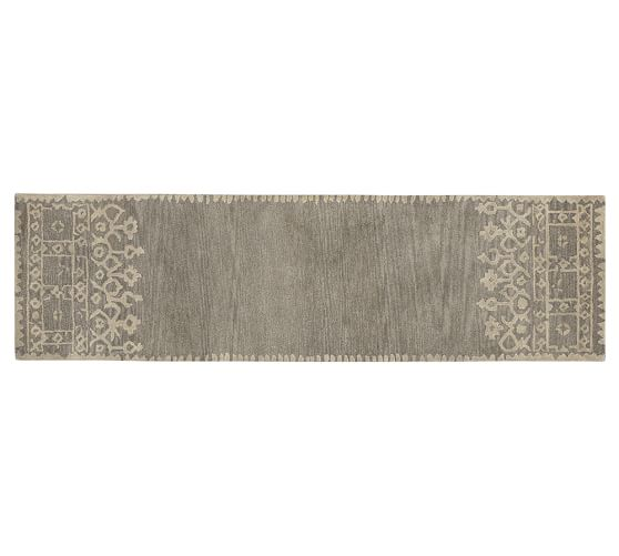 Desa Bordered Wool Rug, 2.5x9', Gray