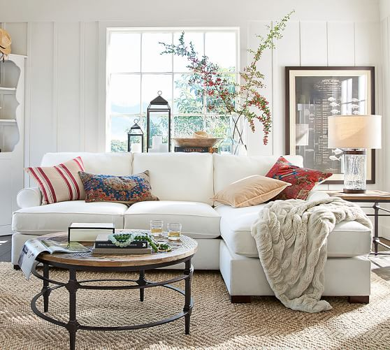 roll arm sofa with reversible storage chaise sectional pottery barn