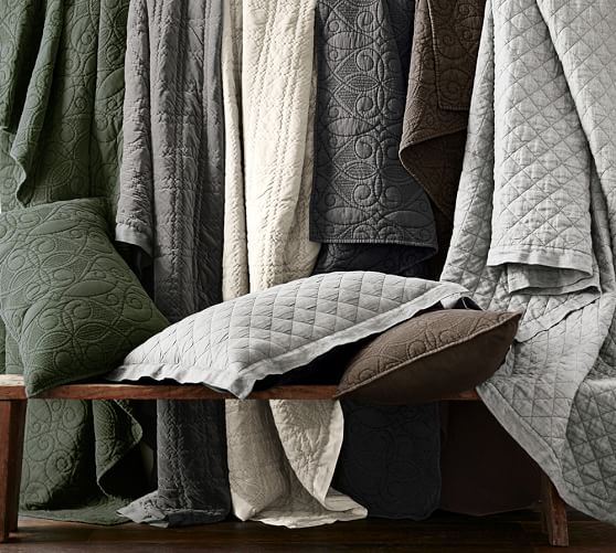 Washed Velvet Silk Quilt Amp Sham Pottery Barn