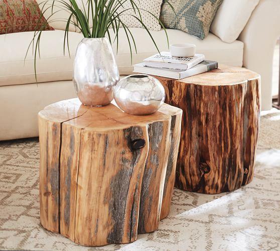 Reclaimed Wood Stump Table | Pottery Barn