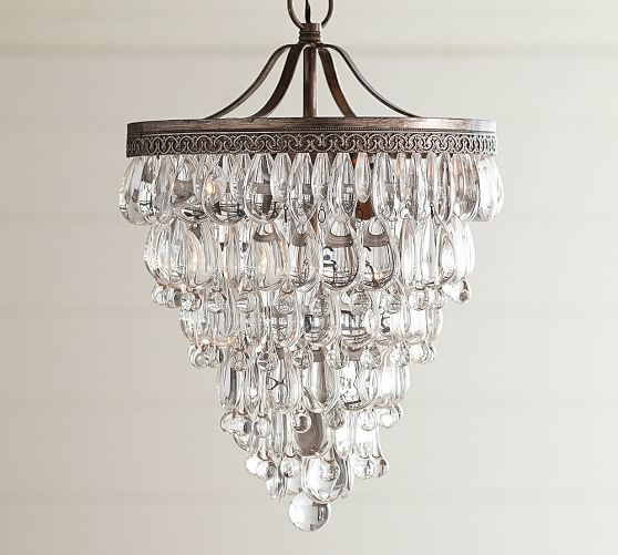 clarissa crystal drop small round chandelier  pottery barn, Lighting ideas