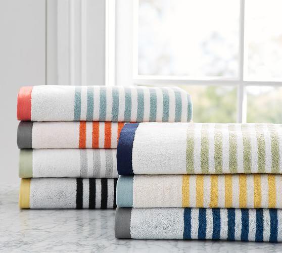 . Marlo Stripe Organic 600 gram Weight Bath Towels   Pottery Barn
