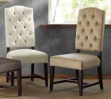 Ashton Tufted Dining Chair, Everyday Velvet, Buckwheat