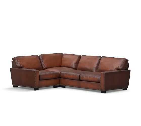 Turner square arm leather 3 piece sectional with corner for Affordable furniture 3 piece sectional in wyoming saddle