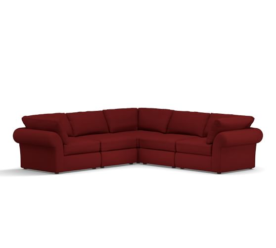 PB Air Upholstered 5-Piece L-Shaped Corner Sectional, Deluxe Down Blend Wrapped Cushions, Twill Sierra Red