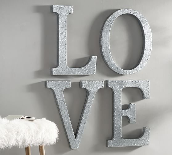 hanging galvanized letters wall art pottery barn. Black Bedroom Furniture Sets. Home Design Ideas