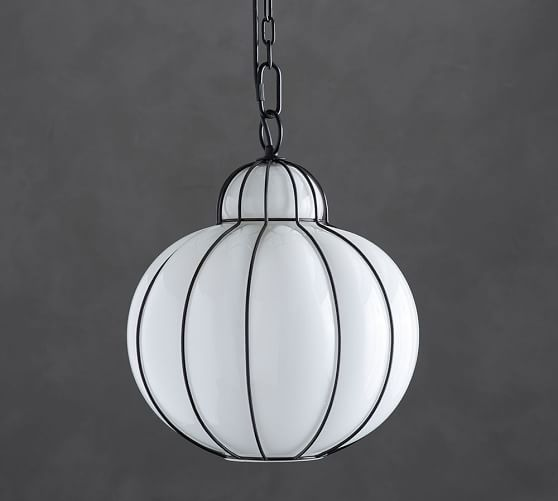 Camille Milk Glass Caged Pendant Pottery Barn