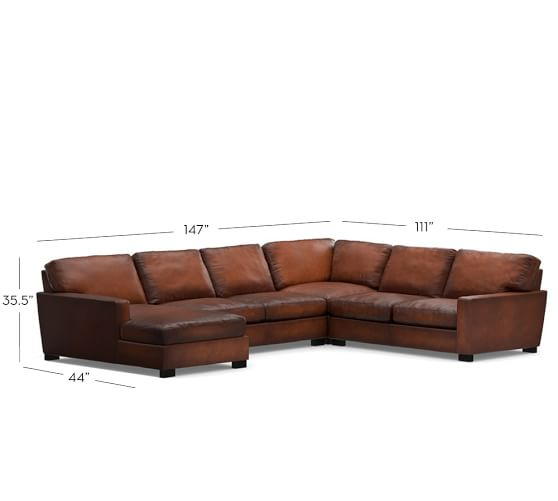Turner square arm leather 4 piece chaise sectional for 4 piece sectional with chaise