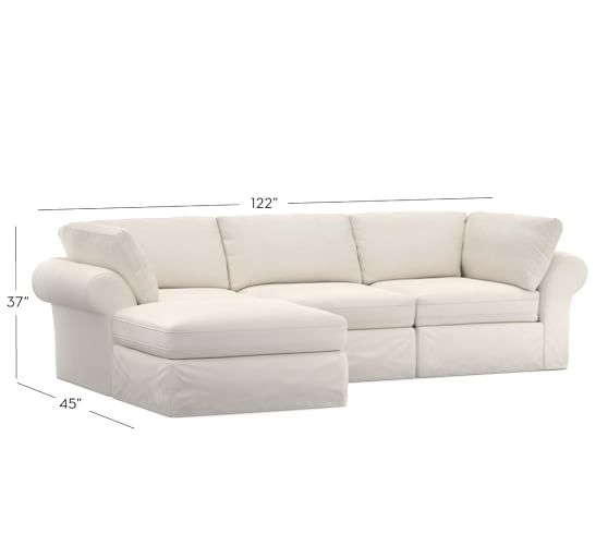 Pb Air Slipcovered 4 Piece Sofa With Chaise Sectional