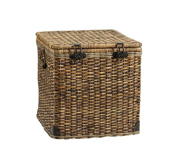 Daytrip Lidded Split Rattan Basket, Cube
