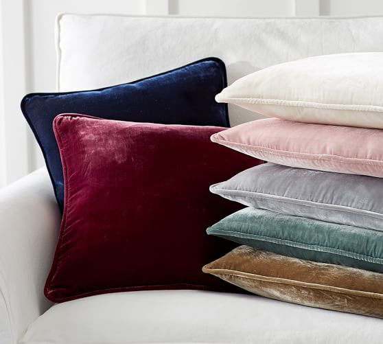 Choose the velvet pillow covers in an array of beautiful hues. Mix and match the velvet with our silk, linen, and cotton twill pillow covers. Velvet pillow covers are available in ten different sizes; large pillow cover sizes make great extra floor seating.