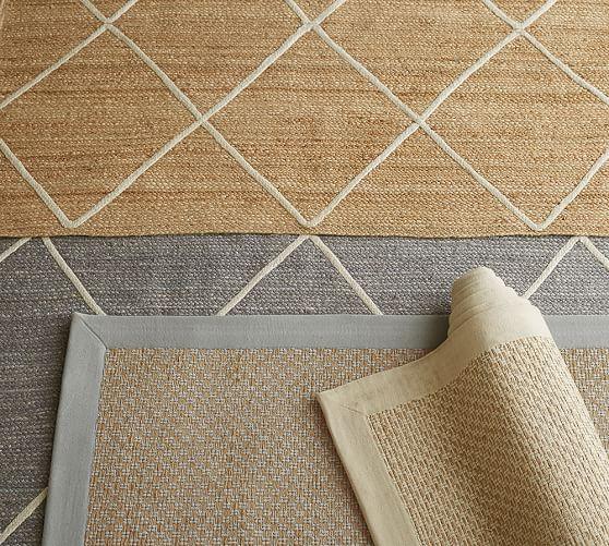 jute lattice rug flax ivory pottery barn. Black Bedroom Furniture Sets. Home Design Ideas