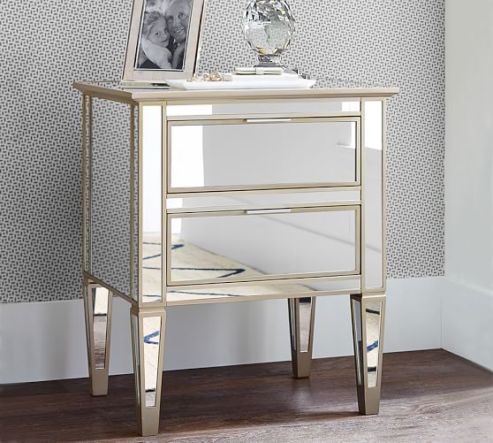 Park Mirrored 2 Drawer Bedside Table Pottery Barn